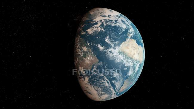 Illustration of Earth planet globe from dark space. — Stock Photo
