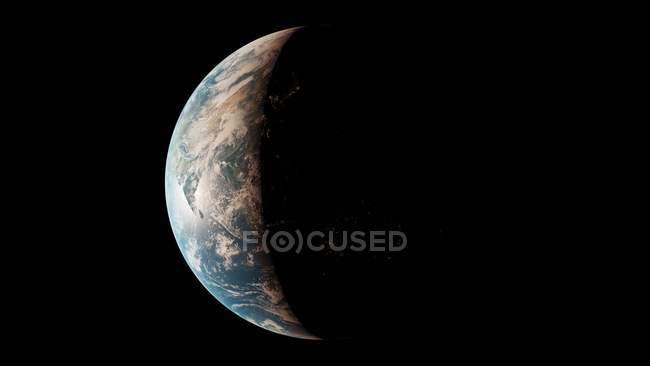 Ilustração do globo do planeta Terra do espaço escuro. — Fotografia de Stock