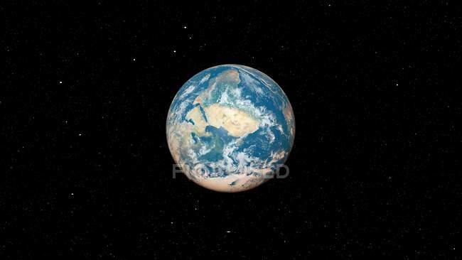 Illustration du globe planète terre depuis l'espace sombre. — Photo de stock