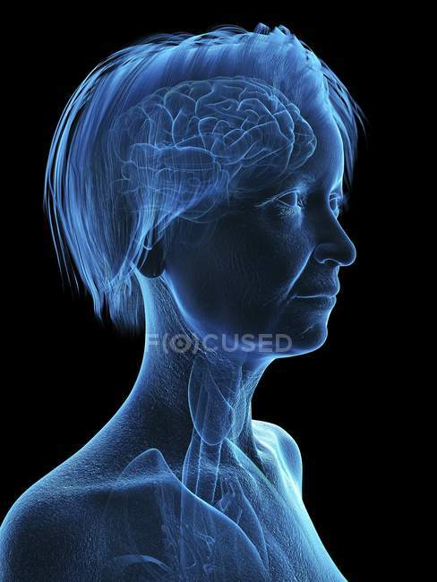 Illustration of senior woman head and neck on black background. — Stock Photo