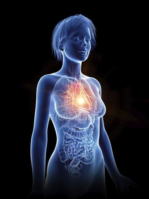 Illustrazione della silhouette femminile con cuore doloroso . — Foto stock