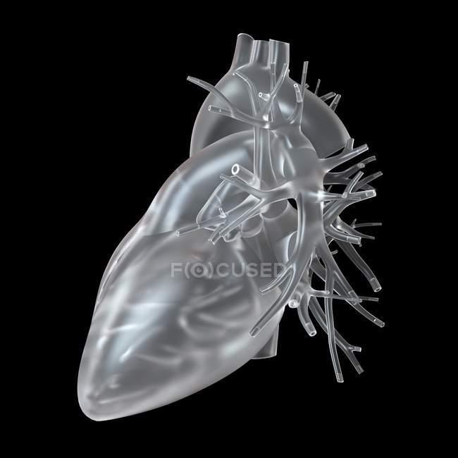 Ilustración de corazón de vidrio sobre fondo negro . - foto de stock
