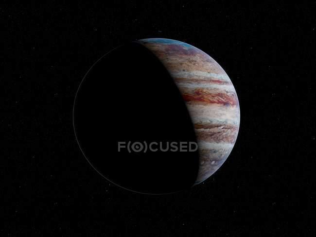 Illustration of beautiful Jupiter planet in dark space. — Stock Photo