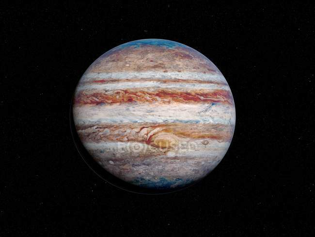 Illustration of beautiful Jupiter planet in dark space. — Stock Photo