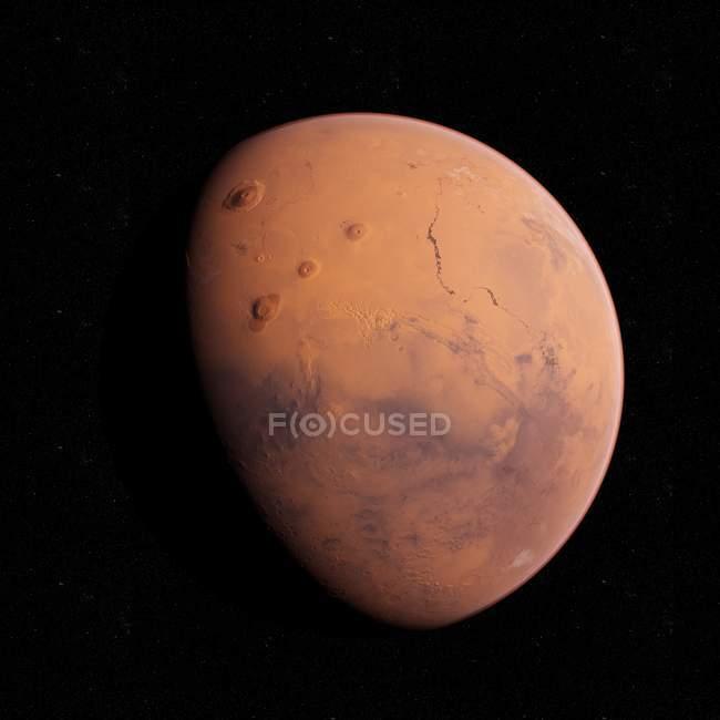 Illustration des Mars-Planeten im Schatten auf schwarzem Hintergrund. — Stockfoto