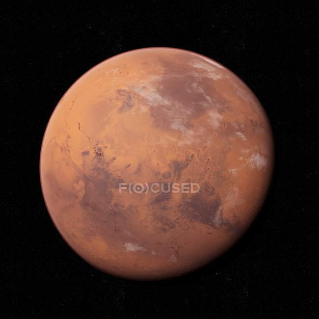 Illustration of Mars red planet on black background. — Stock Photo