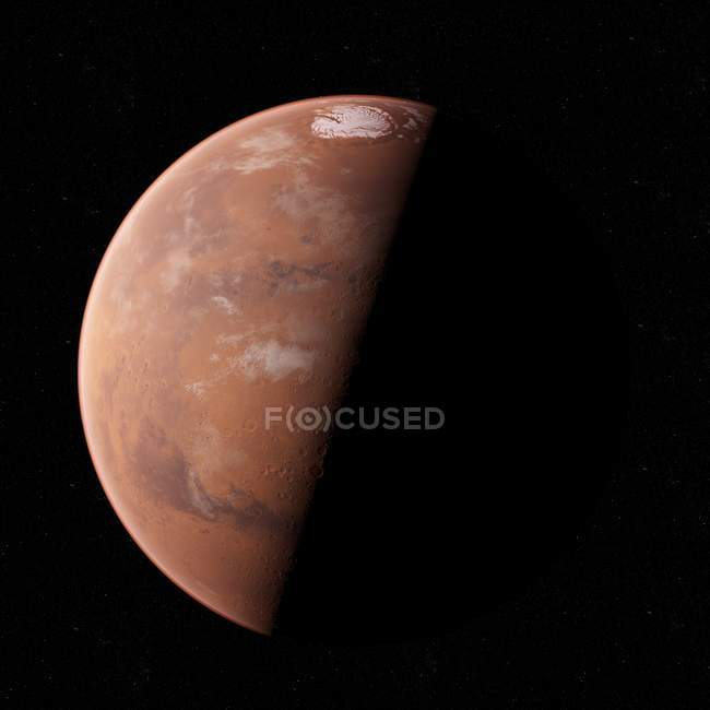 Illustration of Mars planet in shadow on black background. — Stock Photo