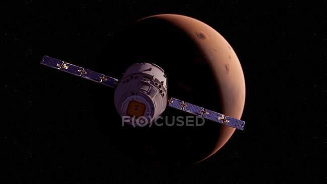 Ілюстрація супутникове корабель передній поверхні планети Марс. — стокове фото