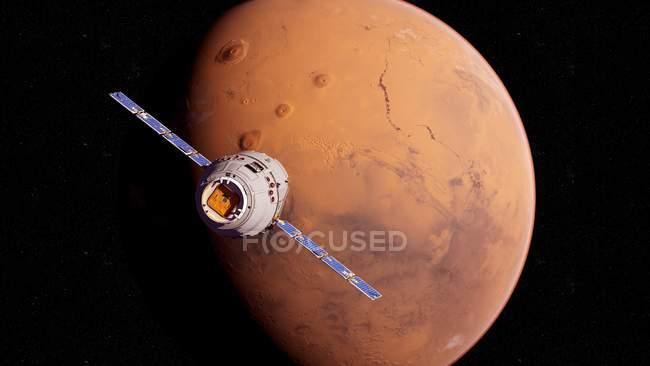 Ilustración del satélite de investigación volando frente al planeta Marte superficie roja . - foto de stock