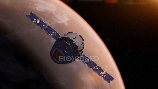 Ilustración de naves espaciales satelitales frente a la superficie del planeta Marte . - foto de stock