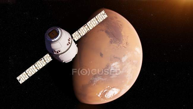 Illustration of satellite spacecraft in front of Mars planet surface. — Stock Photo