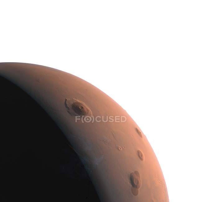 Illustration of Mars planet part in shadow on white background. — Stock Photo