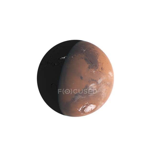 Illustration of Mars planet in shadow on white background. — Stock Photo