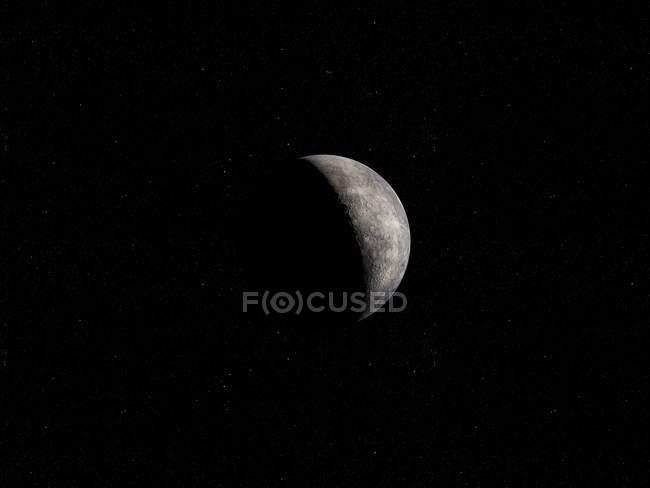 Illustration de la planète de mercure gris sur fond noir. — Photo de stock