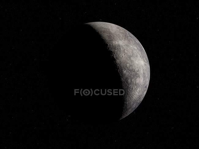 Ilustração de cinza planeta Mercúrio em fundo preto. — Fotografia de Stock