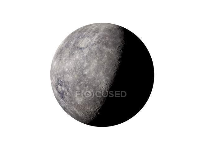 Illustration of grey Mercury planet on white background. — Stock Photo