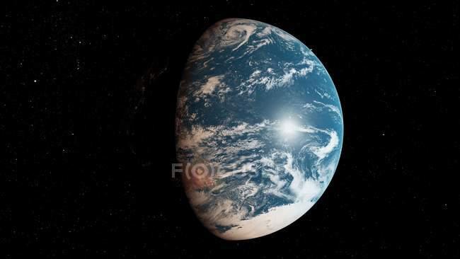 Ilustração do planeta Terra na sombra da luz solar do espaço. — Fotografia de Stock