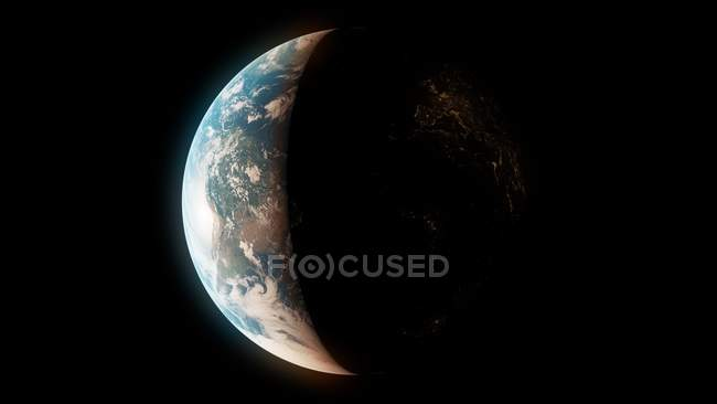 Illustration of Earth planet in sunlight shadow from space. — Stock Photo