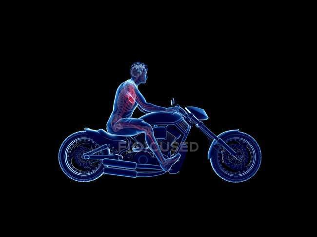 Ilustración procesada 3D de un corazón de ciclista en fondo negro. - foto de stock