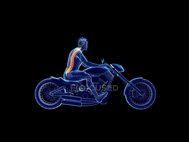 Ilustración procesada 3D de columna ciclista sobre fondo negro. - foto de stock