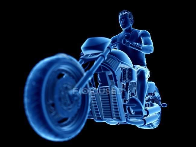 Ilustración procesada 3D de motero masculino sobre fondo negro. - foto de stock