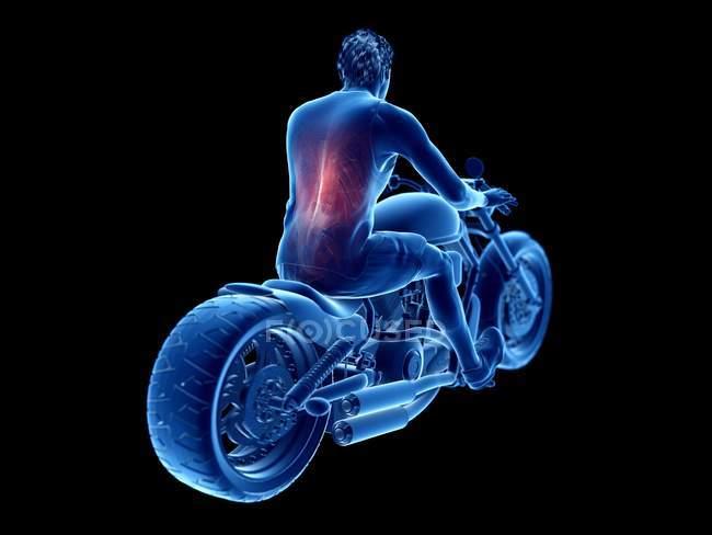 Ilustración procesada 3D de motero detrás de los músculos sobre fondo negro. - foto de stock
