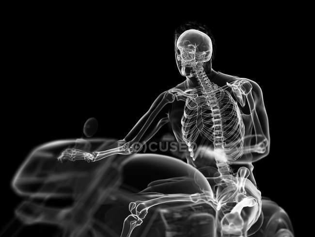 3D prestado ilustración del esqueleto motorista sobre fondo negro. - foto de stock