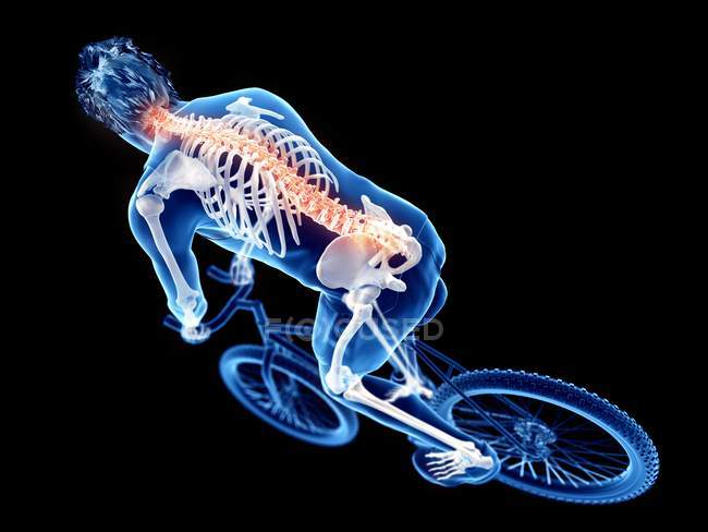 3d rendered illustration of skeleton in silhouette of male cyclist on black background. — Stock Photo