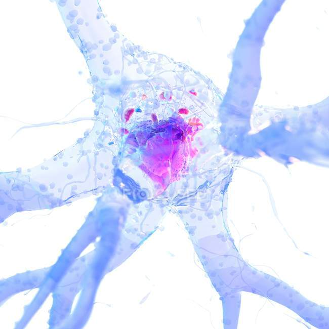 3d rendered abstract illustration of blue nerve cell. — Stock Photo