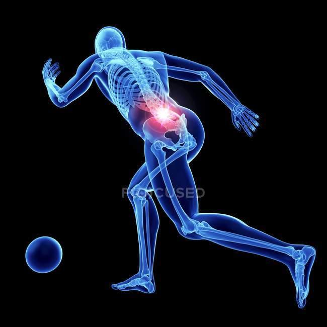 3d renderizado ilustración de fútbol masculino atleta columna vertebral dolorosa . - foto de stock
