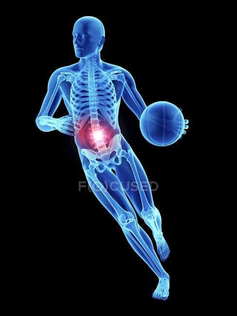 3d reso illustrazione di atleta di basket maschile colonna vertebrale doloroso . — Foto stock