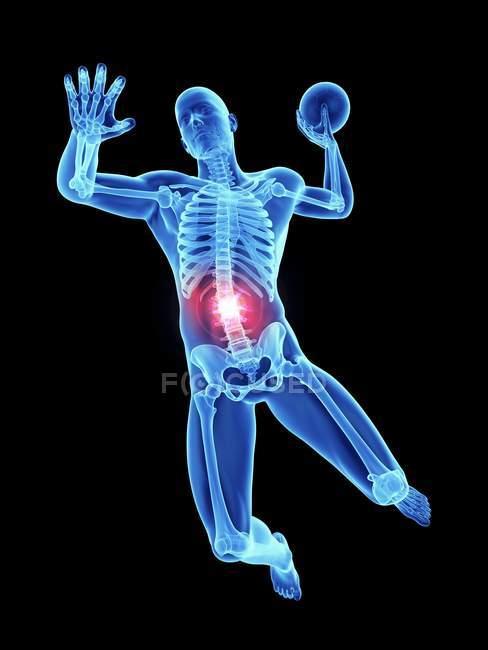 3d renderizado ilustración de atleta masculino con bola y columna vertebral dolorosa . - foto de stock