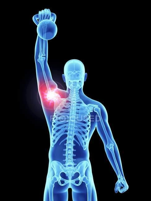 3d renderizado ilustración de atleta masculino con kettlebell con dolor en la articulación del hombro . - foto de stock