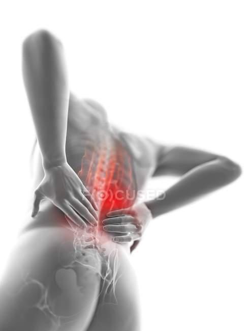 Vista de ángulo bajo 3d renderizado ilustración de silueta gris del hombre con dolor de espalda . - foto de stock