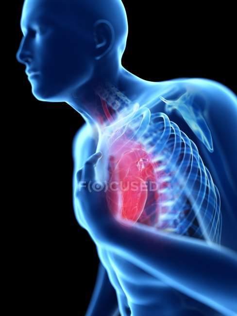 3d reso illustrazione di silhouette blu dell'uomo con dolore al petto su sfondo nero . — Foto stock