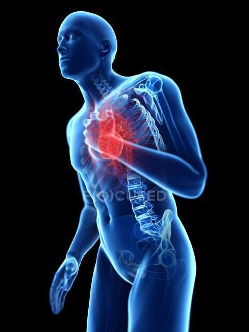 3D надані ілюстрація синій силует людина з болем у грудях. — стокове фото