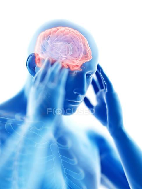 3d rendered illustration of blue silhouette of man with headache on white background. — стоковое фото