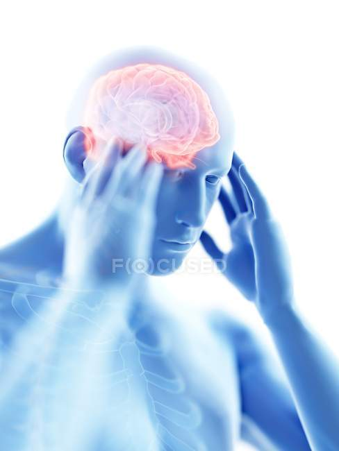 3d rendered illustration of blue silhouette of man with headache on white background. — Stock Photo