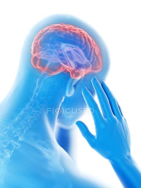 3d renderizado ilustración de silueta azul del hombre con dolor de cabeza sobre fondo blanco . - foto de stock