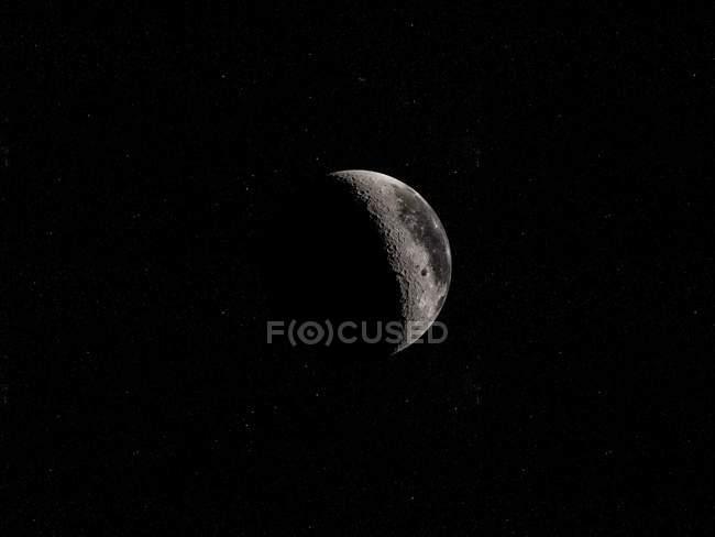 Ilustração digital da lua na sombra em fundo preto. — Fotografia de Stock