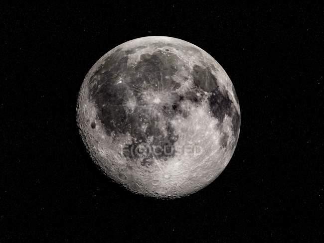 Digitale Darstellung des Mondes auf schwarzem Hintergrund. — Stockfoto
