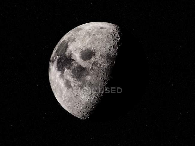 Digital illustration of Moon in shadow on black background. — Stock Photo