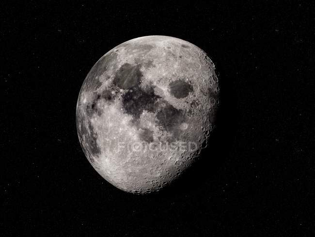 Digital illustration of Moon on black background. — Stock Photo