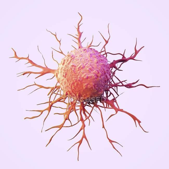 Illustrazione di cellule tumorali astratte con tentacoli su sfondo chiaro . — Foto stock