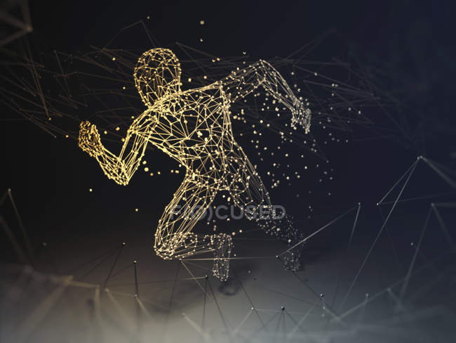 Artificial intelligence running silhouette, conceptual illustration. — Stock Photo
