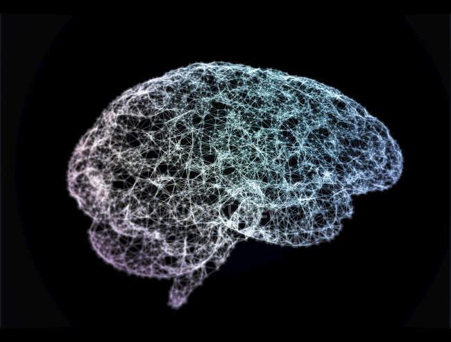 Multicolores de réseau de neurones dans la forme du cerveau humain, illustration numérique. — Photo de stock