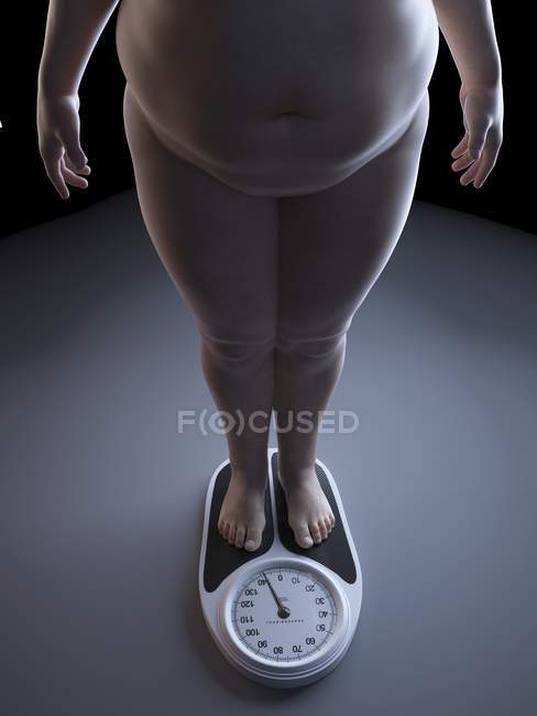 Illustration of low section of obese man on weight scale. — Stock Photo