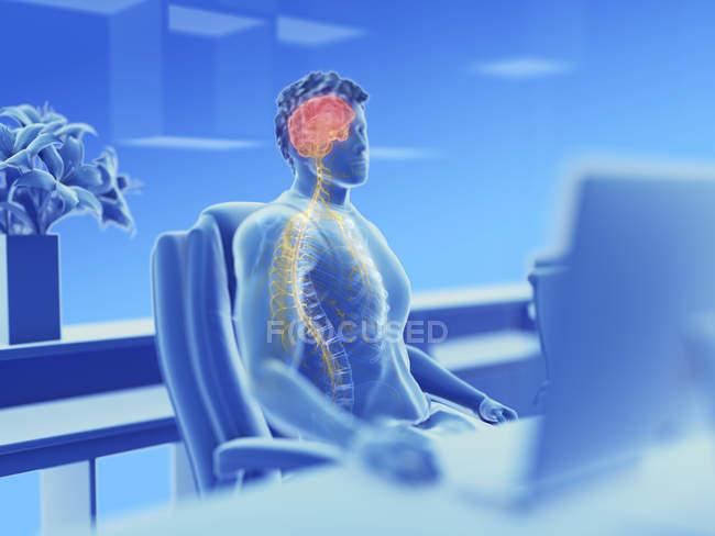 Ilustração do cérebro masculino do trabalhador de escritório e nervos . — Fotografia de Stock