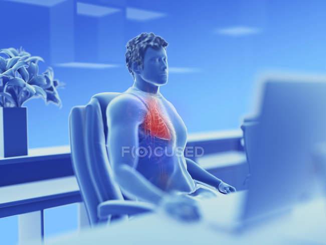Ilustración del sistema vascular masculino del oficinista . - foto de stock