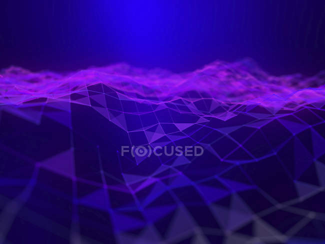 Illustration of purple abstract digital futuristic plexus plain. — Stock Photo